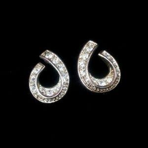 Jewelry - Rhinestone pearshaped silverplated post earrings